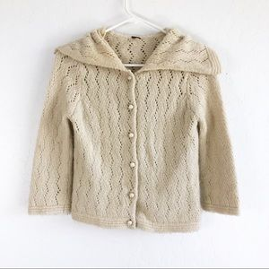 Free People Wool Knit Cream Pearl Button Cardigan